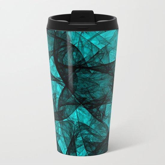 Fractal Art Turquoise G52 Metal Travel Mug