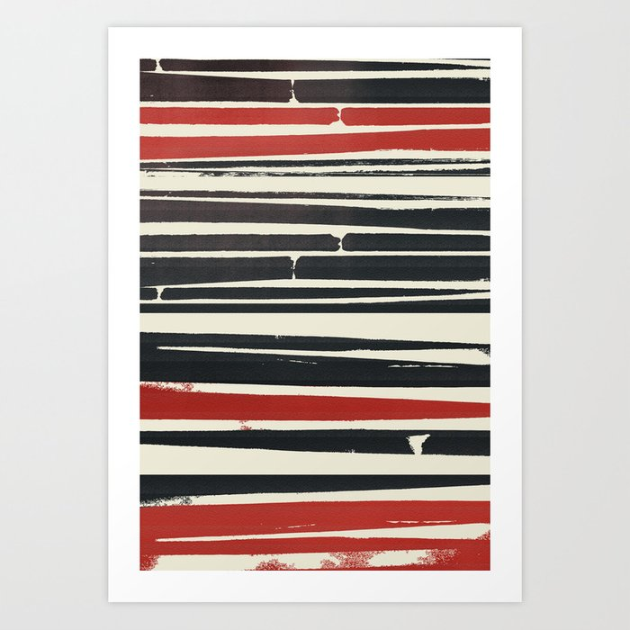 Navy Red Stripes Art Print