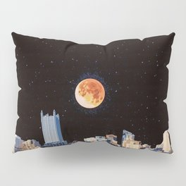 Blood Moon Over Pittsburgh Pennsylvania Skyline-Night Sky and Stars Pillow Sham