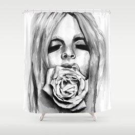 Fashion Illustration Watercolor Rose portrait Shower Curtain