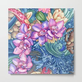 Orchid Splash Metal Print