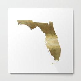Florida Gold foil map Metal Print