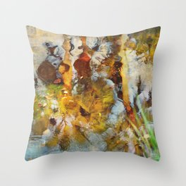 Palm Trees in Pond Throw Pillow