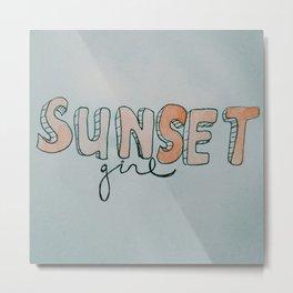Sunset Girl Metal Print