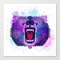 Lilac Geometric Bear  Canvas Print