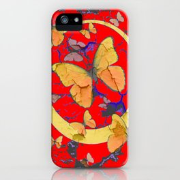 SHABBY CHIC GOLDEN BUTTERFLIES & RED ABSTRACT ART iPhone Case