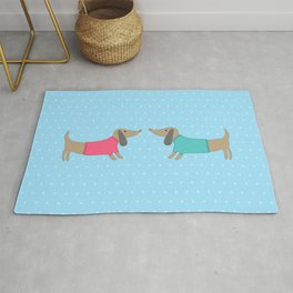 Cute dogs in love with dots in blue background Rug