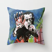 nick cave Throw Pillows featuring Nick Cave Red Right Hand by Caitlyn Shea