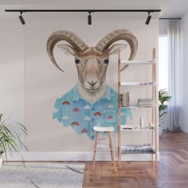 U is for a Urial with an Umbrella and Unicorn Patterned Shirt | Art Print Wall Mural