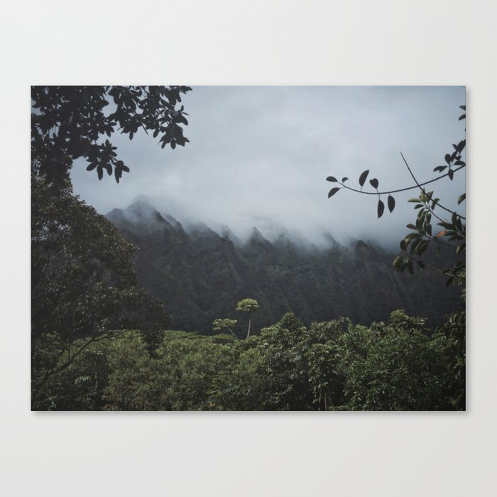 Foggy Oahu Green Canvas Print