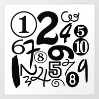 numbers Art Prints featuring Numbers by Sweet Colors Gallery
