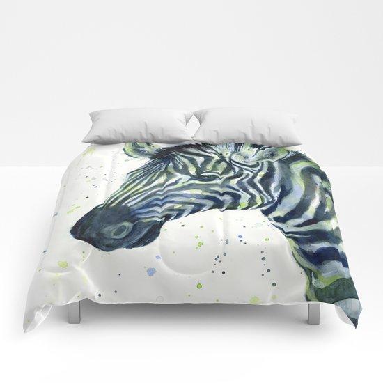 Zebra Watercolor Blue Green Comforters