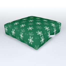 Snowflake Pattern | Winter | Hygge | Scandi | Green and White | Outdoor Floor Cushion