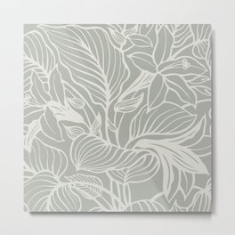 Gray Grey Floral Metal Print