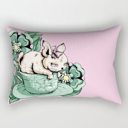 Bunny With Teacup Rectangular Pillow