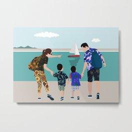 A family walking on the beach Metal Print