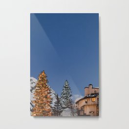 Festive Ski Resort Metal Print