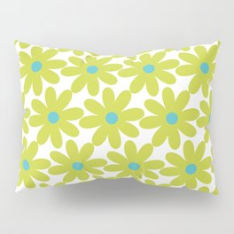 Cheerful Springtime Flowers Floral Pattern in Lime Green and Turquoise on White Pillow Sham