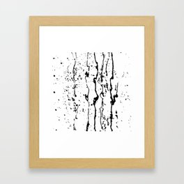 poured paint blots black and white Framed Art Print