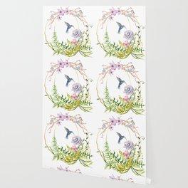 Glittering Golden Floral Hummingbird Terrarium Wallpaper