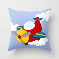 plane Throw Pillows featuring plane by Alapapaju