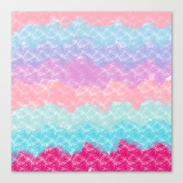 Abstract modern pink teal lilac watercolor waves Canvas Print