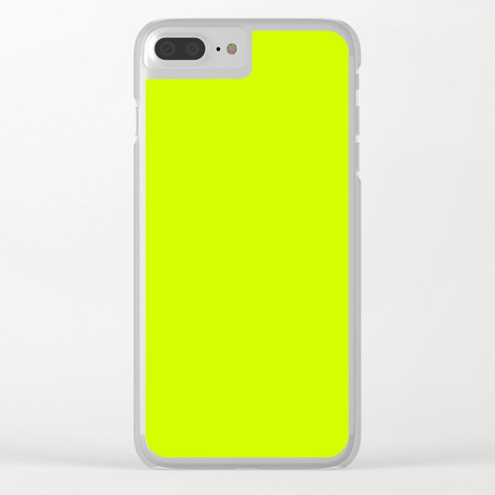 Fluorescent Yellow - solid color Clear iPhone Case