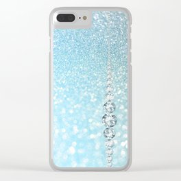 Diamonds are girls best friends I - Blue mermaid glitter texture Clear iPhone Case