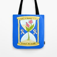 the cure Tote Bags featuring Parkinson's Find a Cure by J&C Creations