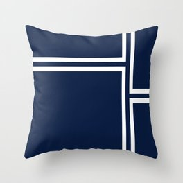 Strong Deco - Minimalist Geometric Pattern in White and Nautical Navy Blue Throw Pillow