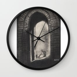 Fort Front- in Charcoal Wall Clock