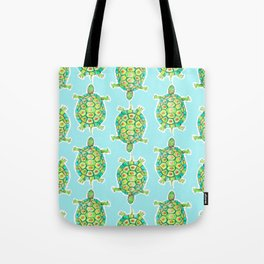 Tortoise Pattern with aqua background Tote Bag