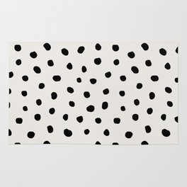Modern Polka Dots Black on Light Gray Rug