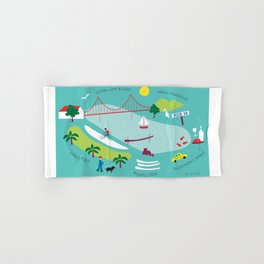 San Francisco, California - Collage Illustration by Loose Petals Hand & Bath Towel