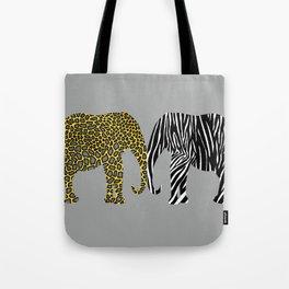 Elephants in Animal Prints Tote Bag