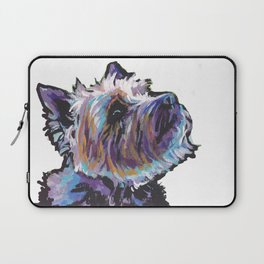 Fun Cairn Terrier Dog Portrait bright colorful Pop Art Painting by LEA Laptop Sleeve