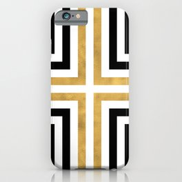 Simple Geometric Cross Pattern - White Gold on Black - Mix & Match with Simplicity of life iPhone Case
