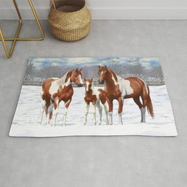 Chestnut Pinto Paint Horses In Snow Rug