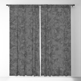 Modern Farmhouse Gray Damask Print Flower Vine on Weathered Background Blackout Curtain