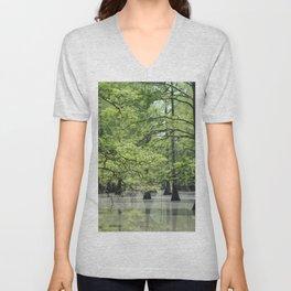 Cypress Trees in the Louisiana Swamp Unisex V-Neck