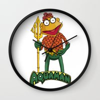 aquaman Wall Clocks featuring Scooter the Aquaman by JoshEssel