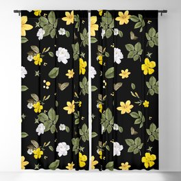 Yellow Flowers & White Roses 2 Blackout Curtain