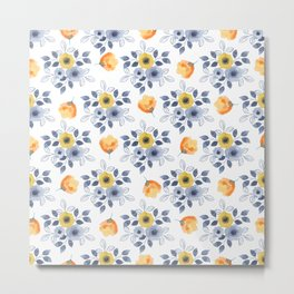 Elegant blue orange yellow watercolor hand painted floral Metal Print