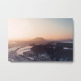 Sunrise in Saxon Switzerland Metal Print
