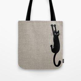 Black Cat Hanging On Tote Bag