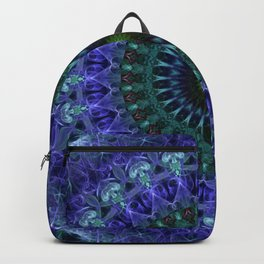 Detailed mandala in dark blue tones Backpack