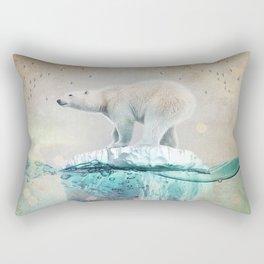 Polar Bear Adrift Rectangular Pillow