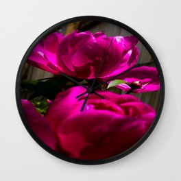 Backyard Peonies Wall Clock