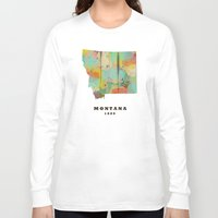 montana Long Sleeve T-shirts featuring Montana state map modern by bri.buckley