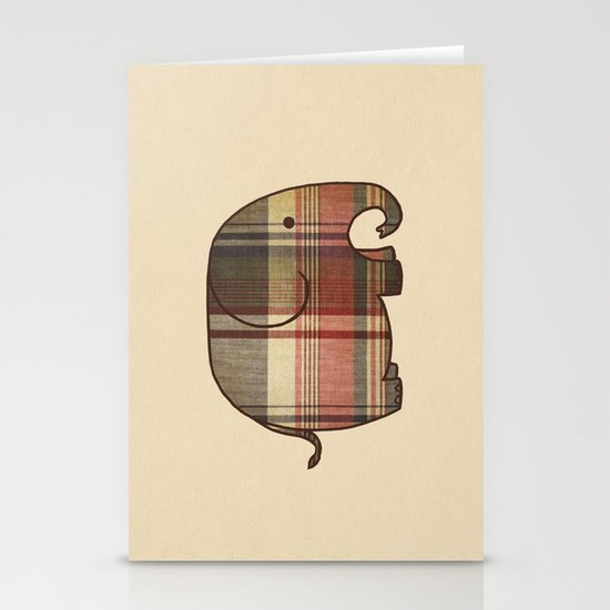 Plaid Elephant  Stationery Cards